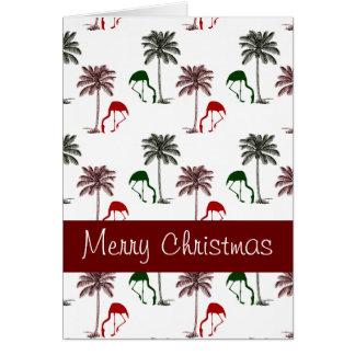 Cartão Feliz Natal do teste padrão da palmeira do