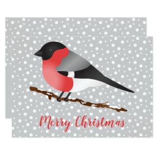 Cartão Feliz Natal euro-asiático do pássaro do Bullfinch
