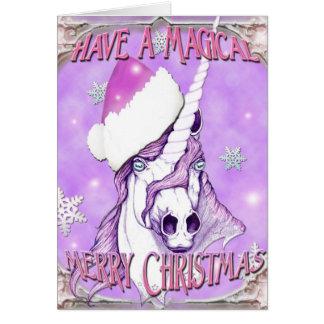 Cartão Feliz Natal mágico do unicórnio