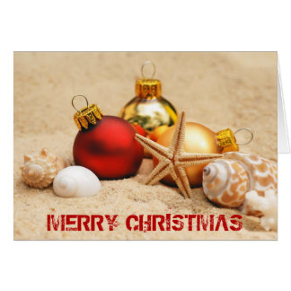 Cartão Feliz Natal na praia