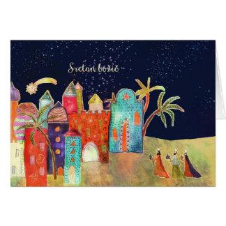 Cartão Feliz Natal no croata, três homens sábios