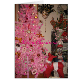 Cartão Feliz Natal no rosa