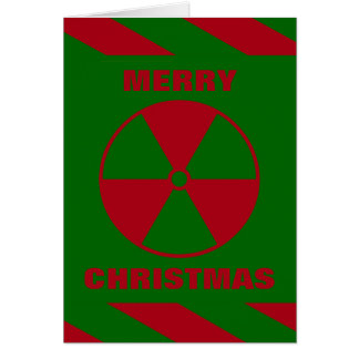 Cartão Feliz Natal nuclear radioativo vermelho e verde