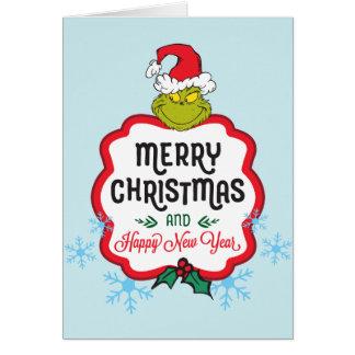 Cartão Feliz Natal & o feliz ano novo clássicos de Grinch
