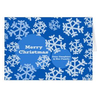 Cartão Feliz Natal para a filha & a família, flocos de