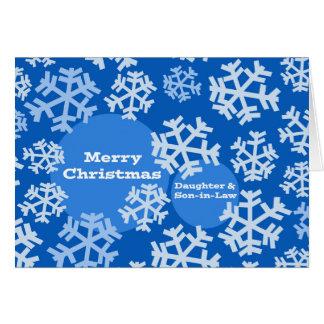 Cartão Feliz Natal para a filha & o genro, neve