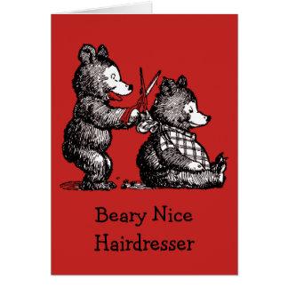 Cartão Feliz Natal para o cabeleireiro - Beary agradável