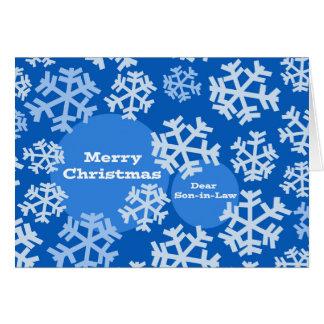 Cartão Feliz Natal para o genro, design dos flocos de