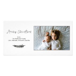 Cartão Feliz Natal preto e branco simples horizontal