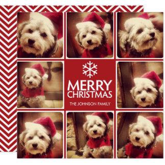 Cartão Feliz Natal que cumprimenta com VERMELHO da
