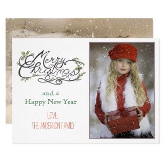 Cartão Feliz Natal retro do vintage com igreja