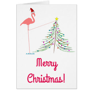 Cartão Feliz Natal! - Silhueta cor-de-rosa do flamingo