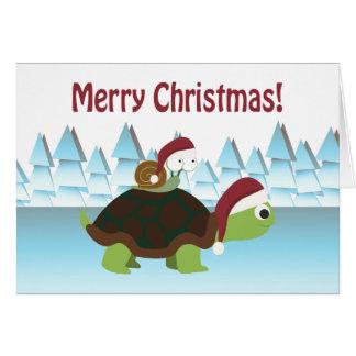 Cartão Feliz Natal! Tartaruga e caracol