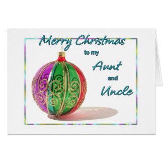 Cartão Feliz Natal tia e tio Colorido Vidro