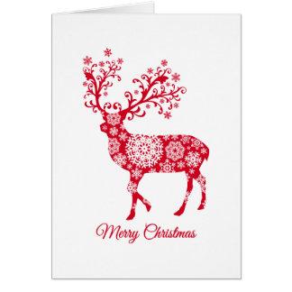 Cartão Feliz Natal, veado vermelho com flocos de neve