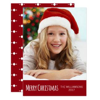 Cartão Feliz Natal vermelho e foto na moda branca