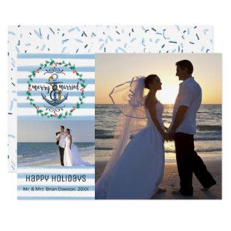 Cartão Feliz náutica & listras casadas, azuis, duas fotos