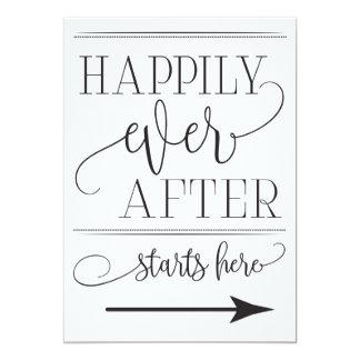 Cartão Feliz nunca após os começos que Wedding aqui o