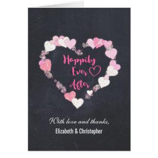 Cartão Feliz nunca após os corações cor-de-rosa que