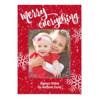 Cartão Feliz tudo foto da queda de neve do feriado
