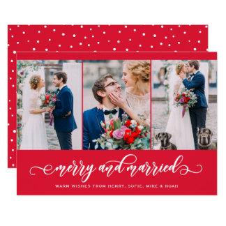 Cartão Feliz vermelha e feriado casado da colagem de três