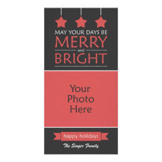 Cartão Feliz vermelha e foto brilhante do feriado das