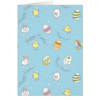 """Cartão """"felz pascoa!"""" com coelhos, ovos"""