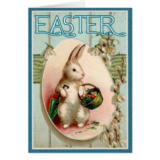 Cartão Felz pascoa da ilustração do vintage do coelhinho