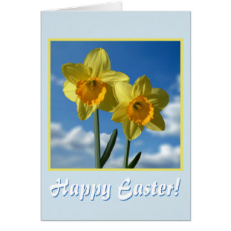 Cartão Felz pascoa! Dois Daffodils amarelos 2.2.T