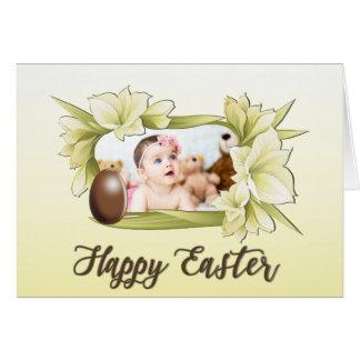 Cartão Felz pascoa, foto quadro floral e ovo da páscoa