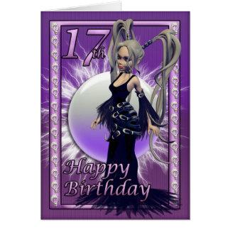 Cartão Fêmea gótico da boneca do 17o aniversário feliz,