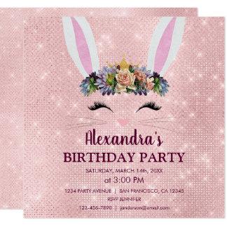 Cartão Feminino cora a festa de aniversário cor-de-rosa
