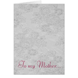 Cartão feminino do dia das mães do laço frisado