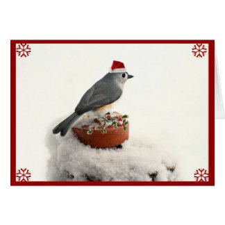 Cartão Feriado adorável Titmouse adornado