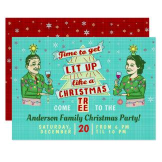 Cartão Feriado adulto retro do bebendo da festa de Natal