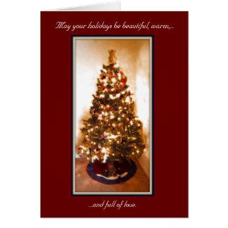 Cartão - feriado: Árvore de Natal decorada