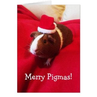Cartão Feriado bonito do Natal da cobaia do papai noel