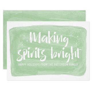 Cartão Feriado brilhante dos espírito verdes do fazer da