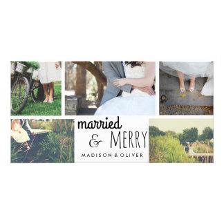 Cartão Feriado casado & alegre que Wedding a colagem de