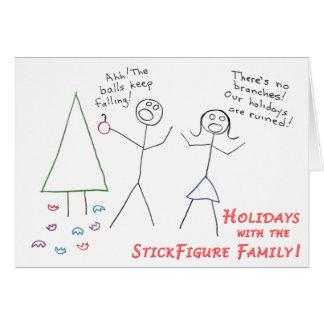 Cartão Feriado da família de StickFigure