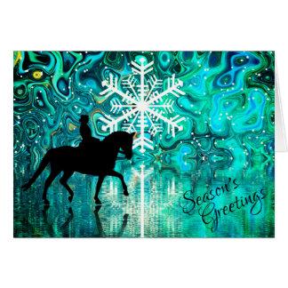 Cartão Feriado de inverno do cavalo do adestramento dos