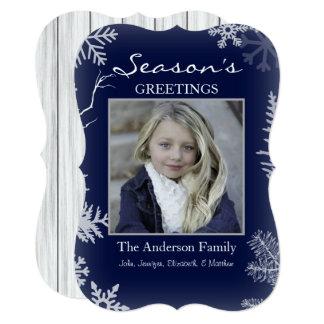 Cartão Feriado de madeira rústico do floco de neve azul