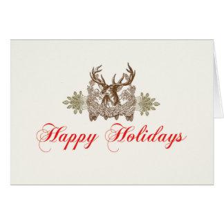 Cartão Feriado do clássico da cabeça dos cervos do