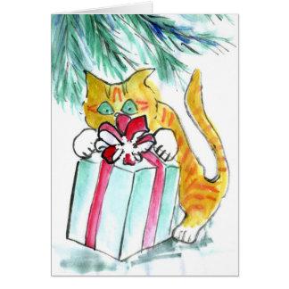 Cartão Feriado do gato que ataca os presentes, Sumi-e