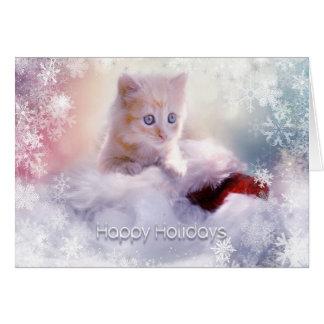 Cartão Feriado do Natal - gatinho bonito com flocos de