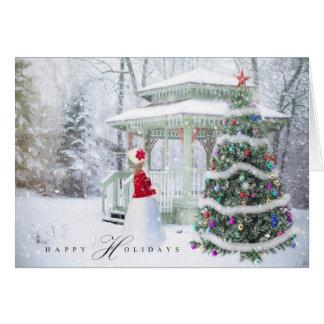 Cartão Feriado do Natal - menina feliz da cena do Xmas do