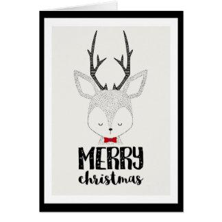 Cartão Feriado do Natal - rena bonito