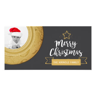 Cartão Feriado do ouro do quadro da foto do Feliz Natal