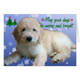 Cartão Feriado dourado branco do Natal do Doodle