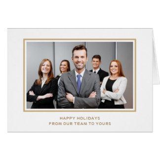 Cartão Feriado elegante da foto da empresa do ouro branco